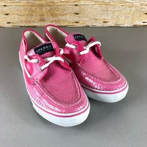 Sperry Top Sider Pink Sequin Slip on Loafers Sz 10